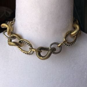 """16"""" Jessica Simpson Mixed Metal Statement Necklace"""